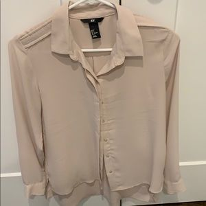 H&M blush color button down size 2